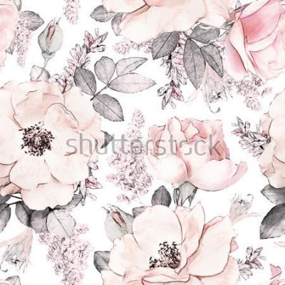 Fototapet Seamless mönster med rosa blommor och löv på vit bakgrund, akvarell blommönster, blomma ros i pastellfärg, plattor för tapeter, kort eller tyg