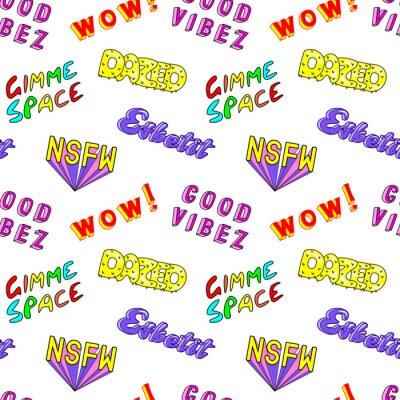 "Fototapet Seamless mönster med seriefigurer färgglada fraser, ord: ""Dazed"", ""Gimme space"", ""Esketit"", ""Wow"", ""NSFW"", etc. Modeplåster, märken, stift, klistermär"