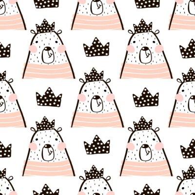 Fototapet Seamless mönster med söta tjejbjörnar prinsessa. Perfekt för tyg, textil. Vektorns bakgrund
