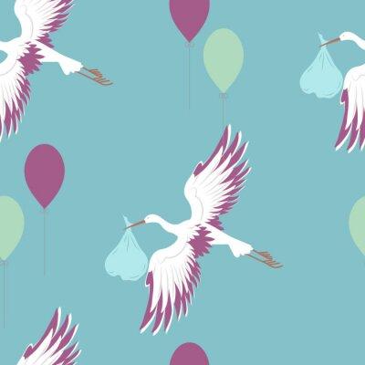 Fototapet Seamless mönster med stork och ballonger