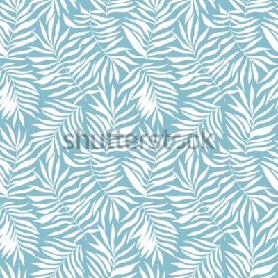 Fototapet Seamless mönster med tropiska palmblad. Vackra tryck med handritade exotiska växter. Badkläder botanisk design. Vektorillustration.