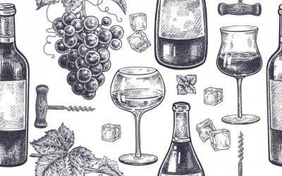 Fototapet Seamless mönster med vin att dricka.