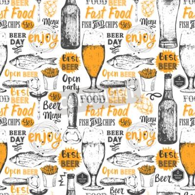 Fototapet Seamless öl set. Pubmeny. Flaska och glas öl i skiss stil. Vector illustration med öl etiketter.