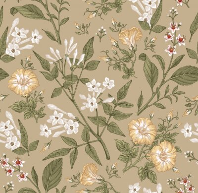 Fototapet Seamless pattern. Beautiful fabric blooming realistic isolated flowers. Vintage background. Set Jasmine Petunia Croton wildflowers. Wallpaper baroque. Drawing engraving. Vector victorian illustration