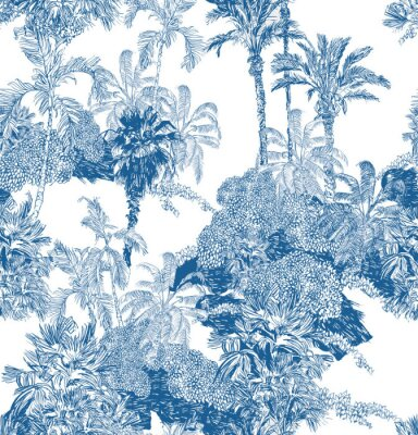 Fototapet Seamless Pattern Blue and White Cobalt Tropical Jungles with Palms and Mountains, Blue Rainforest Toile Print, Tropical Engraving Illustration Wallpaper Mural, Classic Hand Drawn Landscape Design