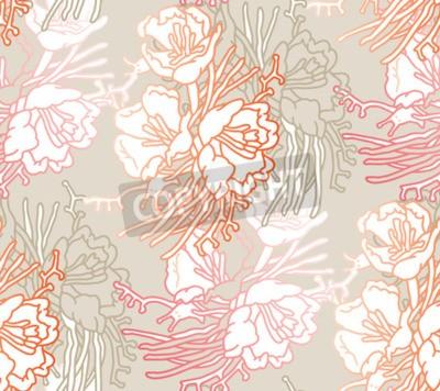 Fototapet Seamless pattern of flowers. Floral illustration. Botanic atrwork.