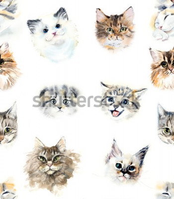 Fototapet Seamless pattern with cats. Watercolor hand drawn illustration