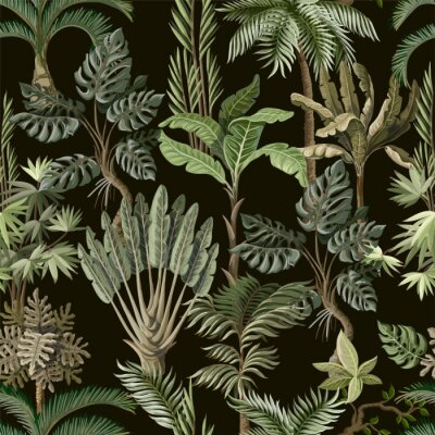 Fototapet Seamless pattern with exotic trees such us palm, monstera and banana. Interior vintage wallpaper.