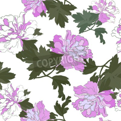 Fototapet Seamless pattern with Flower Peony. Floral Design Vector illustration.