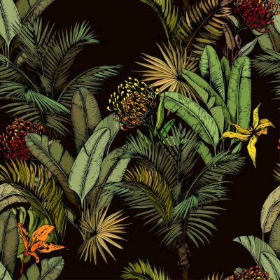 Fototapet Seamless pattern with green tropical leaves and exotic flowers. Hand drawn vector illustration on black background.