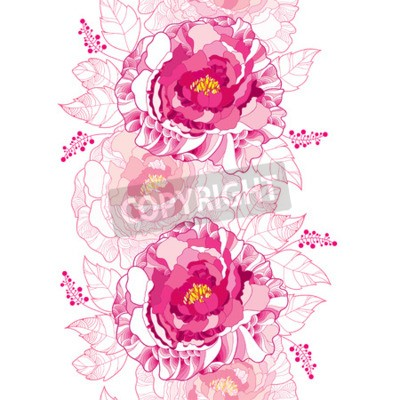 Fototapet Seamless pattern with outline peony flower and ornate leaf in pastel pink colored on the white background. Floral vertical border with contour blossoming peonies for summer design.