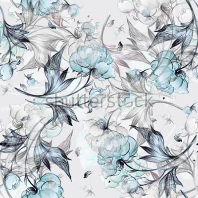 Fototapet Seamless peony mönster med knoppar, mönster för tyg och tapeter, för design och dekoration.