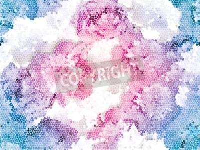 Fototapet Seamless peony mosaic. Pink blue flower pattern. Peony texture