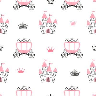 Fototapet Seamless prinsessamönster med slott, kronor och vagnar. Vektor bakgrund.