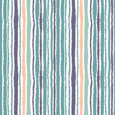Fototapet Seamless randigt mönster. Vertikala smala linjer. Sönderrivet papper, strimla kant konsistens. Blå, vit, orange mjuk färgad. Vektor