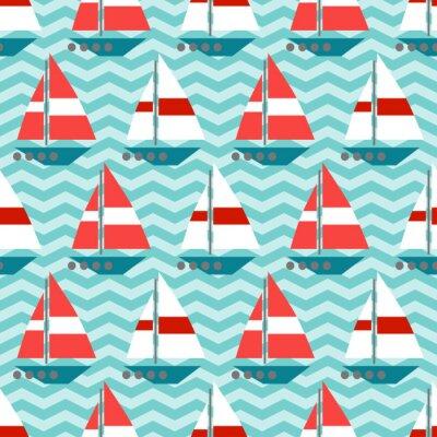 Fototapet Seamless segelbåtar på vågorna