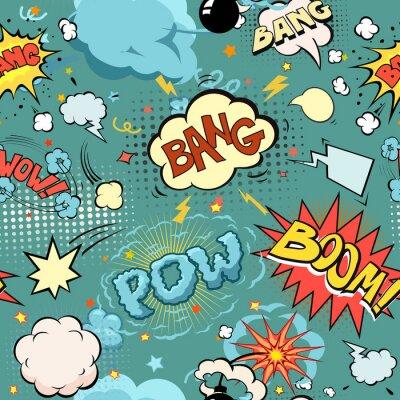 Fototapet Seamless Serietidning Explosion, bomber och Blast Set. bubblor för tal, olika ljud och pilar.