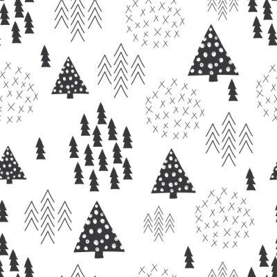 Fototapet Seamless skandinavisk stil enkel illustration julgran bakgrund