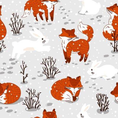 Fototapet Seamless söta rävar och kanin. vinter illustration