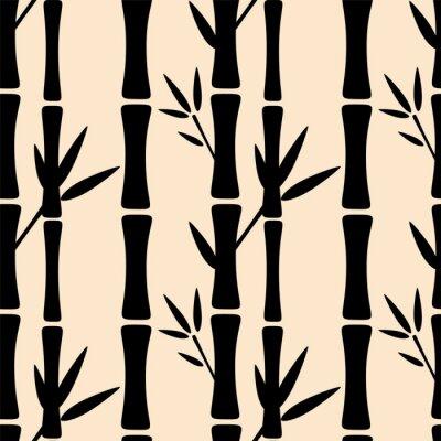 Fototapet Seamless svarta silhuetter bambuträd