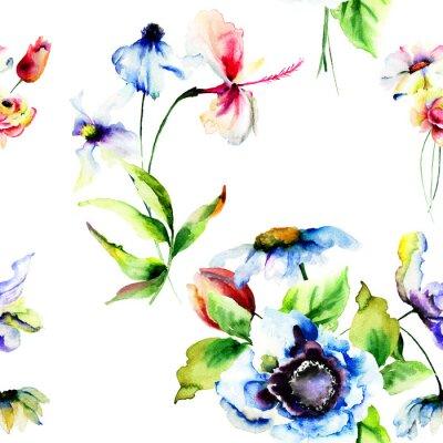 Fototapet Seamless tapet med stiliserade blommor