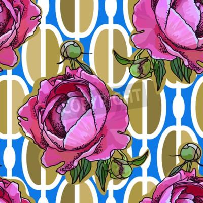 Fototapet Seamless trend pattern - peony flower on ornamental background. Vintage style