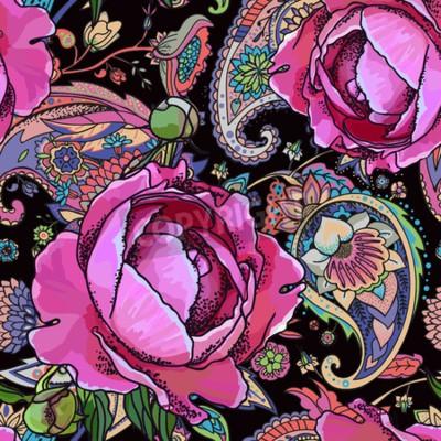 Fototapet Seamless trend pattern - peony flowers and paisley.