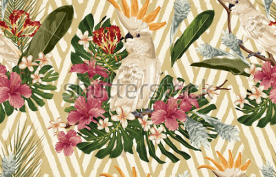 Fototapet Seamless tropical pattern background with tropical flowers and cockatoo bird. Tropicana wallpaper, digital paper, raster illustration in vintage Hawaiian style.
