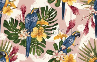 Fototapet Seamless tropisk mönster bakgrund med tropiska blommor, blå och gul macaw och flamingo. Tropisk illustration i vintage Hawaiian stil.