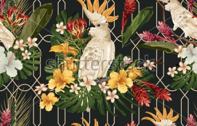 Fototapet Seamless tropisk mönster bakgrund med tropiska blommor och cockatoo fågel. Tropicana tapeter, digitalt papper, raster illustration i vintage Hawaiian stil.