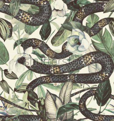 Fototapet Seamless vattenfärg mönster med tropiska blommor, magnolia, orange blomma, vanilj orkidé, tropiska löv, bananblad