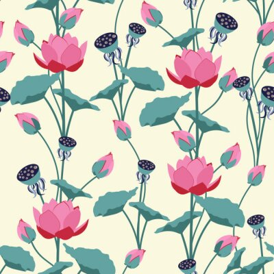 Fototapet Seamless vector illustration with delicate lotus flowers.