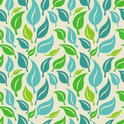 Fototapet Seamless vektor bakgrund med gröna och blå blad