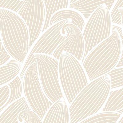 Fototapet Seamless vektor handritade mönster med löv.