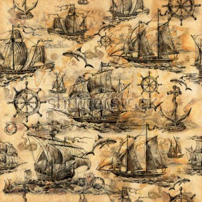 Fototapet Seamless vintage textur, tapeter på ett marint tema, handritad med gamla segelbåtar, hajar, rattar, räddning cirklar och gammalt papper.