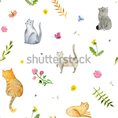 Fototapet Seamless watercolor pattern with cats and flowers on white background. Stock illustration.