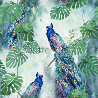 Fototapet Seamless watercolor pattern with peacock