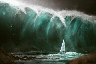 Fototapet Segelbåt framför en tsunami