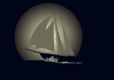 Fototapet Segelbåt mot en bakgrund av månen