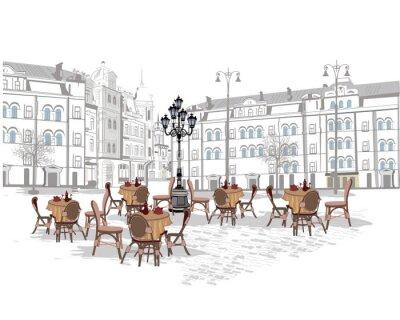 Fototapet Serie av bakgrunder dekorerade med gamla stan vyer och gatan kaféer. Handritad vektor illustration.