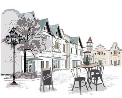 Fototapet Serie av gatan kaféer i den gamla staden