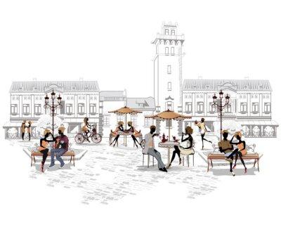 Fototapet Serie av gatan kaféer i staden med människor som dricker kaffe