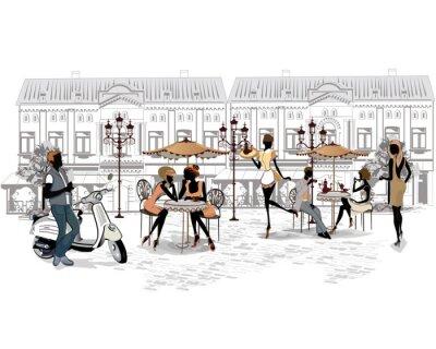 Fototapet Serie av gatorna med människor och musiker i den gamla staden