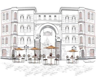 Fototapet Serie av utsikt mot gatan med caféer i den gamla staden