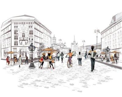 Fototapet Serie av utsikt mot gatan med människor i den gamla staden
