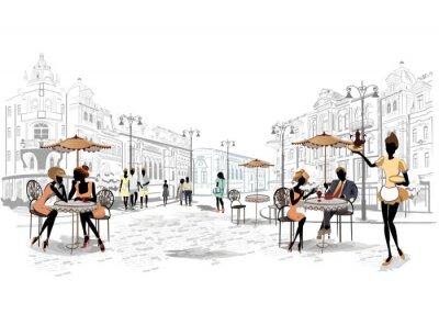 Fototapet Serie utsikt över gatan i den gamla staden med kaféer