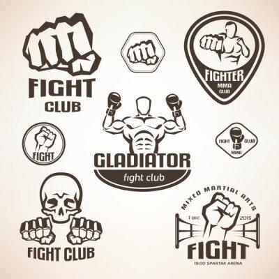 Fototapet Set av striderna klubb emblem, MMA, boxning etiketter och bages