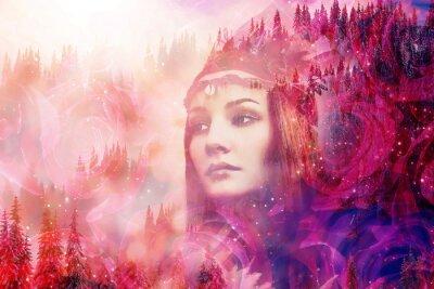Fototapet Shaman woman in winter landscape, artist collage.