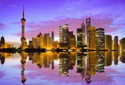 Fototapet Shanghai skyline i gryningen