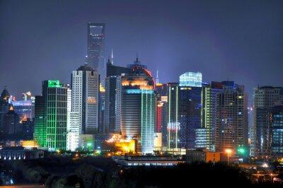 Fototapet Shanghai skyline på natten